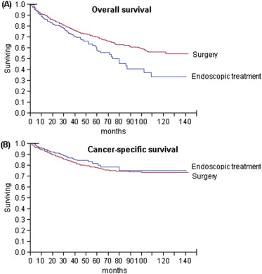 Kaplan–Meier survival estimates for patients undergoing endoscopic therapy vs surgery . (A) Overall survival  and (B) esophageal cancer–specific survival.